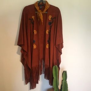 Forever 21 Suede Fringed Shawl with Embroidery